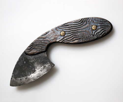 "Eugene Pijanowski Skinner's Blade, 1988 Mokume-gane silver, copper & kurmido knife: 6-¼"" x 2-½"" x ¼"""