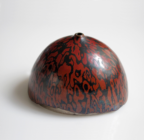 "Eugene Pijanowski Untitled Hollowware, 1977 Mokume-gane copper/shakudo 2½"" x 2¾"" x 3¾"""