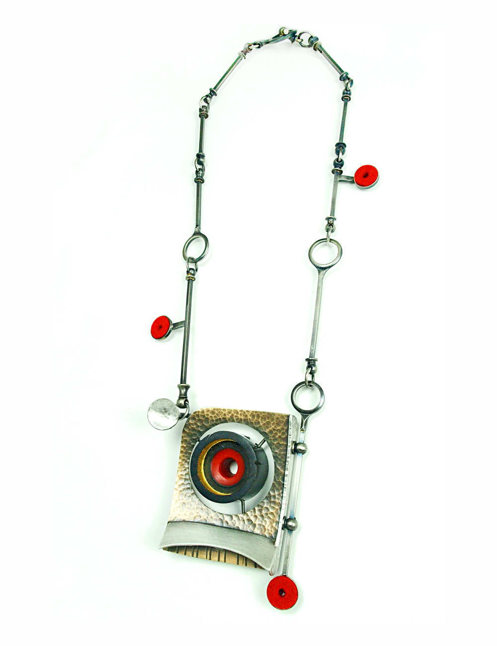 "Cyclops Necklace, 2015, Bronze, sterling silver, nickle silver, vintage clarinet parts, epoxy resin, felt, stainless steel, 23ky gold leaf, paint, 3.5 x 2.5 x 1"" pendant- 20"" necklace"