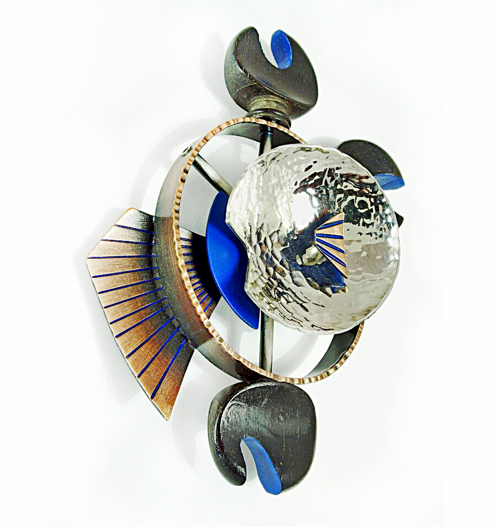 Receiver Brooch, 2015, Sterling silver, bronze, stainless steel, vintage violin parts, celluloid, paint, 3 x 3.5 x .75""