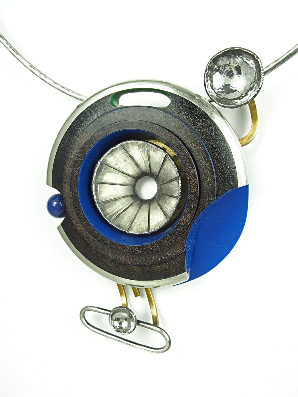 "Siren Necklace, 2015, Sterling silver, brass, stainless steel, nickle silver, vintage clarinet parts, celluloid, lapis lazuli, 23ky gold leaf, paint, 4.5 x 3.75 x 1"" pendant - 20"" chocker"
