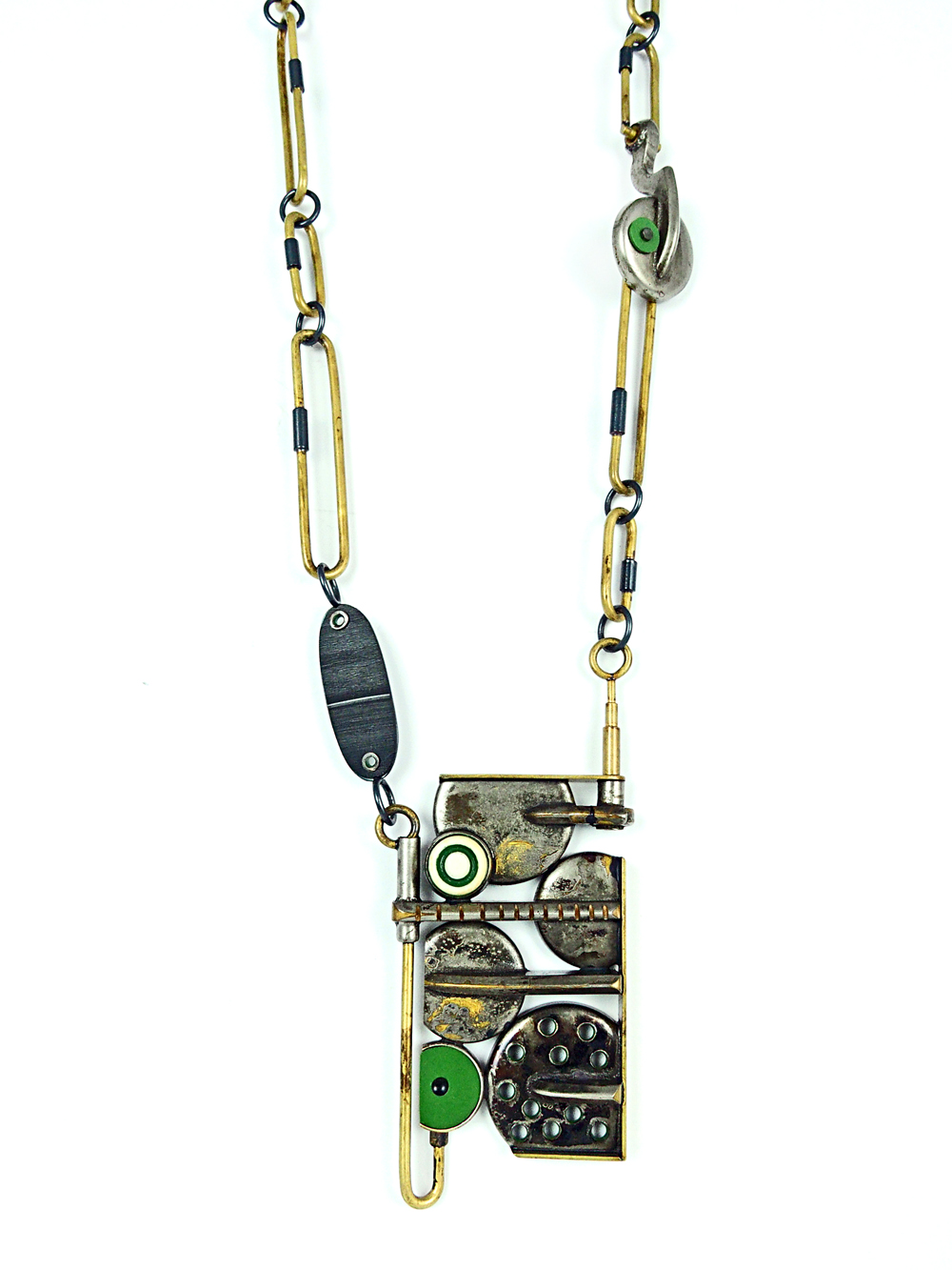 "Transistor Necklace, 2015, Brass, sterling silver, vintage saxophone parts, celluloid, vinyl, bone, paint, 3 x 1.5 x 0.5 pendant- 20"" necklace"