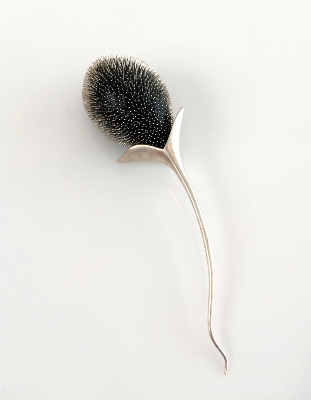 Suzanne Amendolara & Dan DiCaprio, New Growth (Brooch), Sterling Silver, Ebony, Stainless Steel