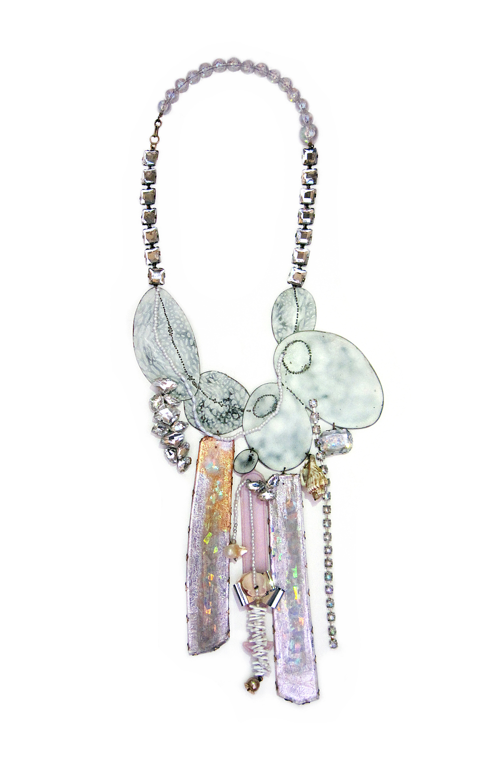 Satomi Kawai & Nikki Couppee, Neogems (Necklace), Plastic, etched copper, resin, pigment, sterling silver, brass, plexiglass, found shells, faux and real pearls, faux silver foil, hologram laminate