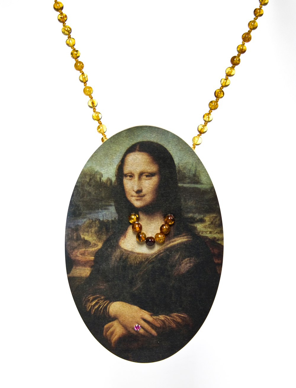 Herman Hermsen, Mona, 2015 (pendant/necklace), 2015, Amber, wood, photoprint on aluminum, 12 X 7 cm