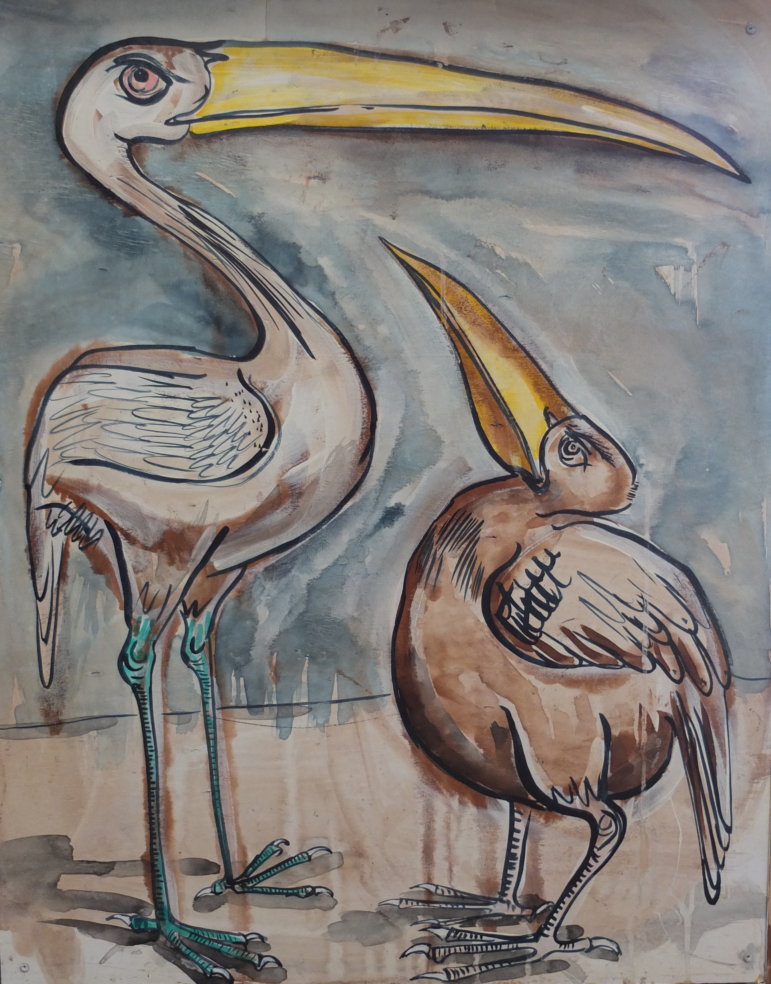 "Tom Hill, Mural (detail), Birds on a Beach, 132 x 40"""