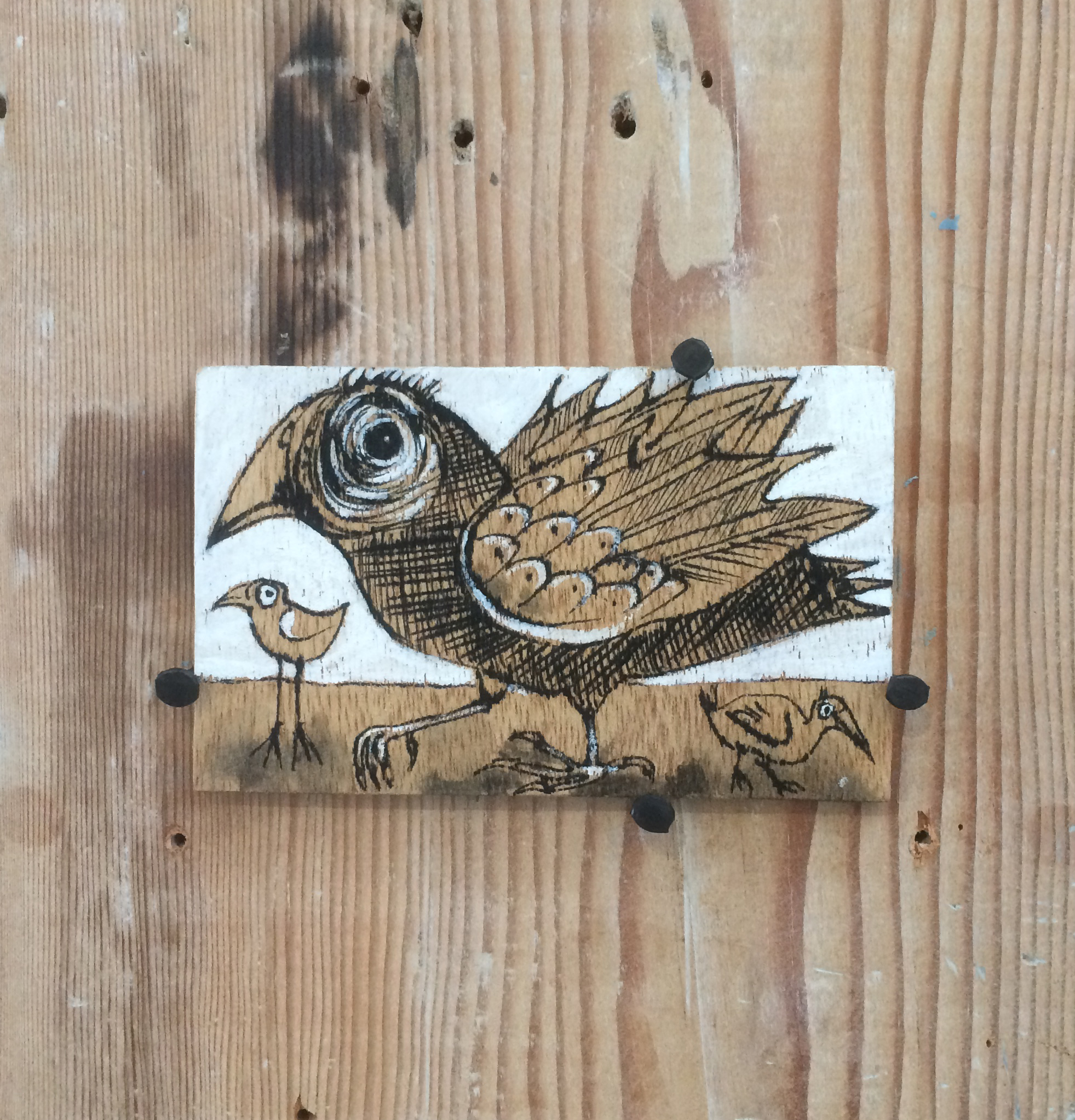 """Tom Hill, Small Drawing, Wood, paint, ink, 4 x 2 ½"""""""