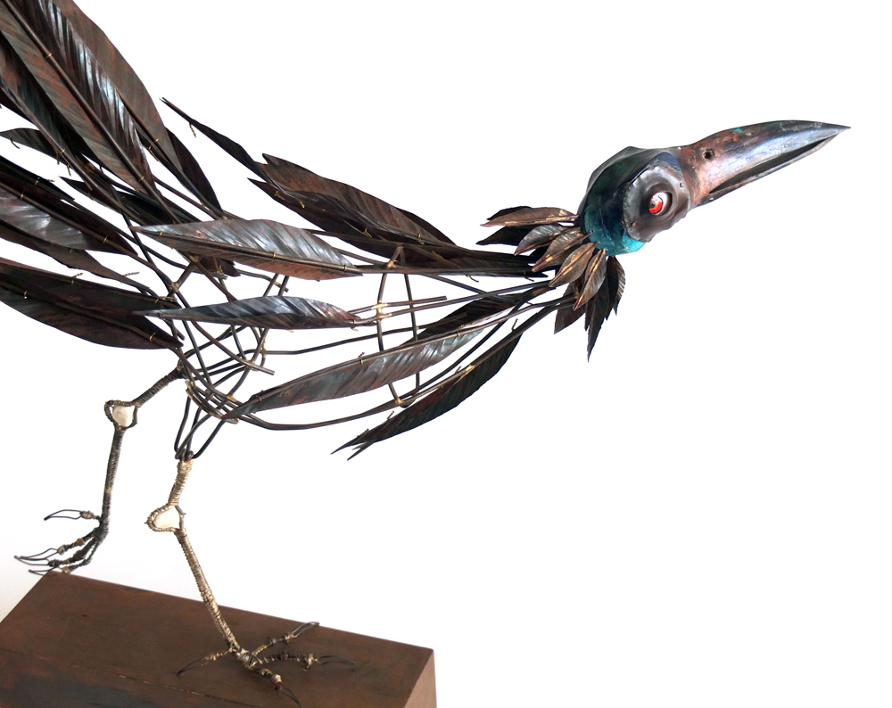 Tom Hill, Bird with Two Heads (head 2), Steel, cooper, bone, 27 x 25 x 14""