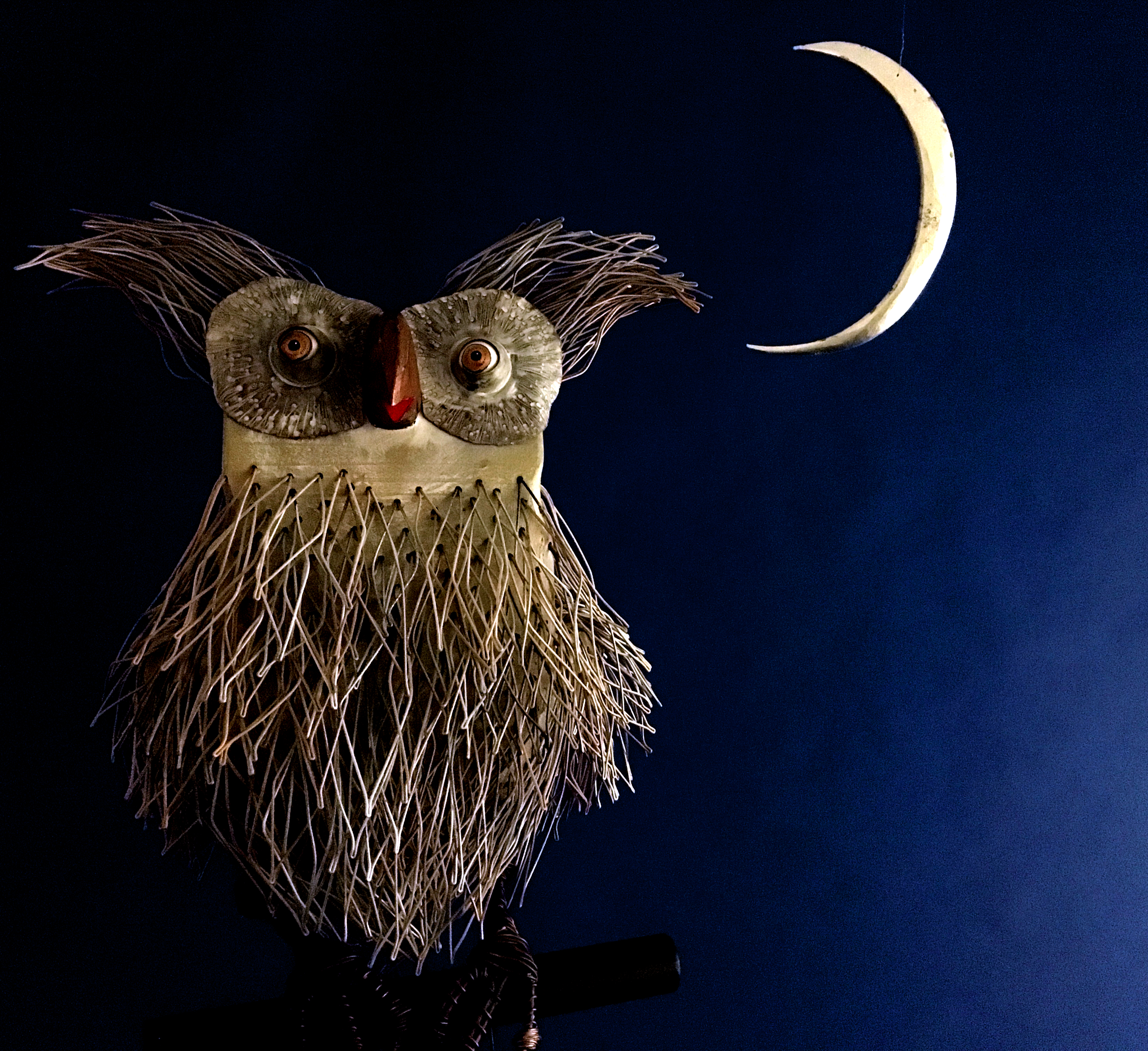 "Tom Hill, Grey Owl with Moon, Steel, cooper, wood, paint, 25 x 9"" x 12"""