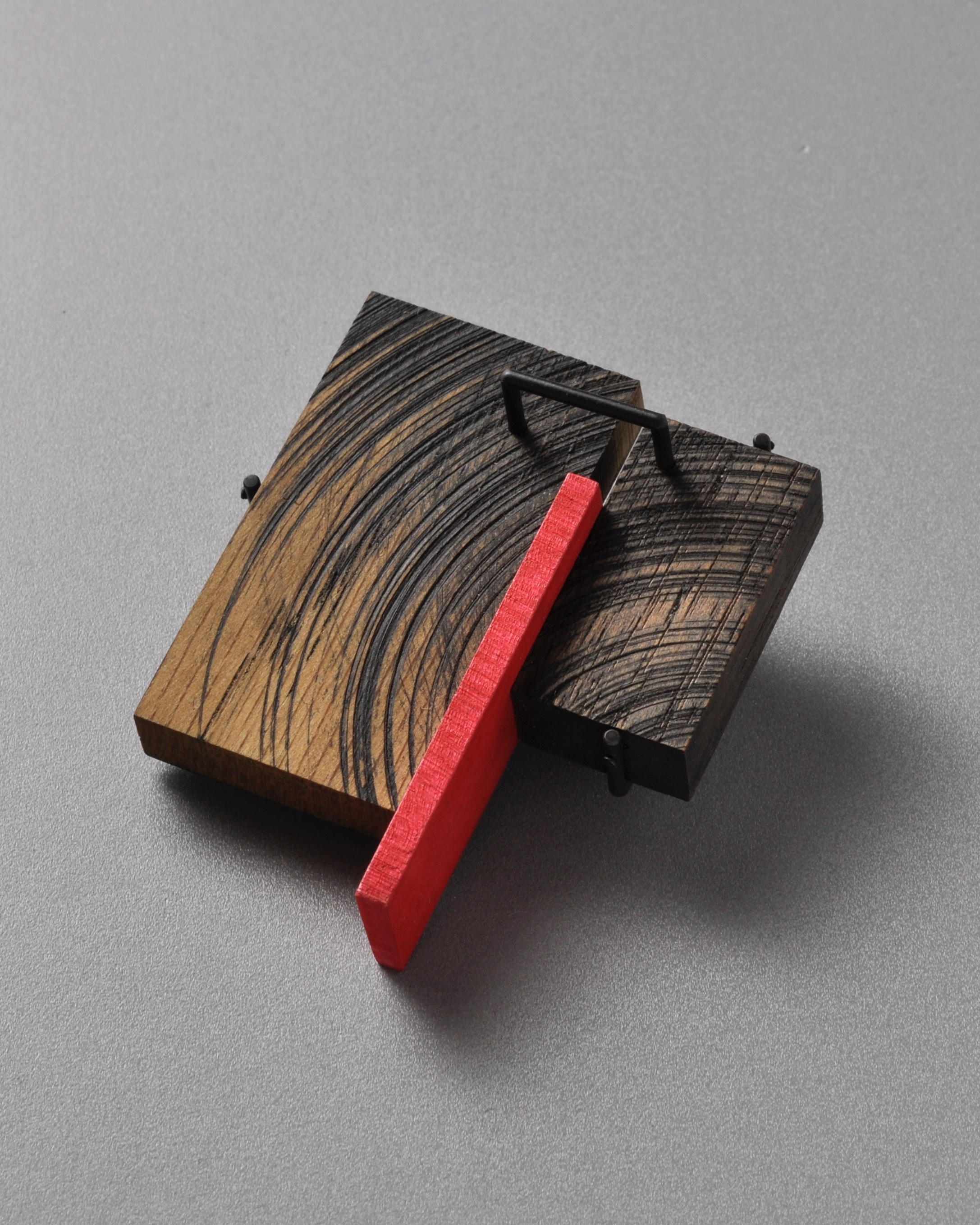 Julia Turner, Brooch, Wood, paint, steel.
