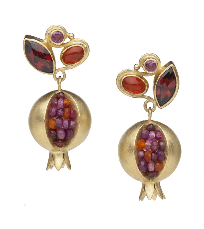 Boline Strand, Pomegranate Primadonna Earrings, 18k, 14k, and 22k yellow gold, ruby, carnelian, garnet, amethyst, ink sapphire, carnelian