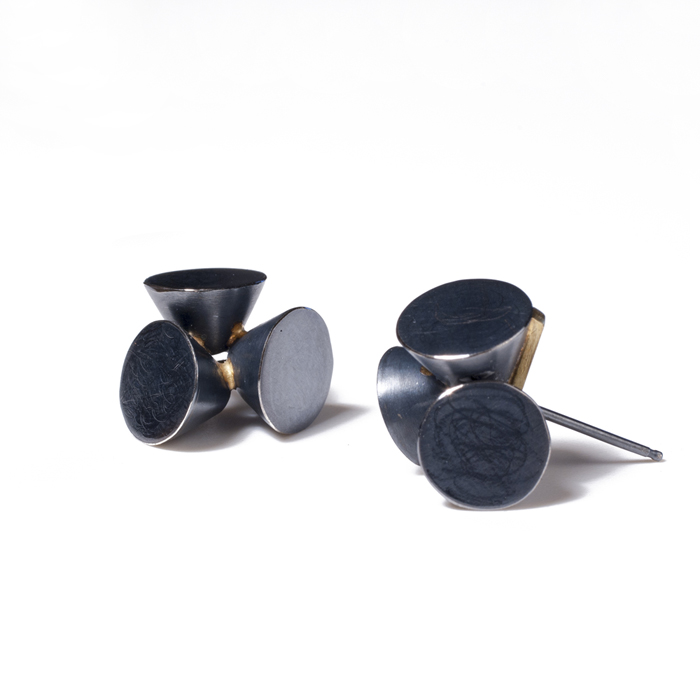 Caroline Gore, Tri-Cone Earring, Oxidized sterling silver