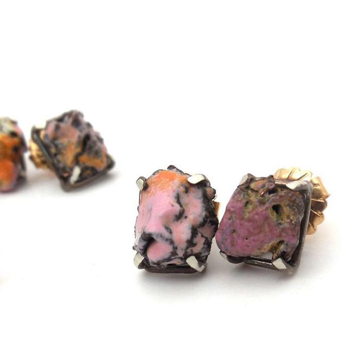 Rachel Shimpock, Crumb Studs, Sterling silver, copper, vitreous enamel