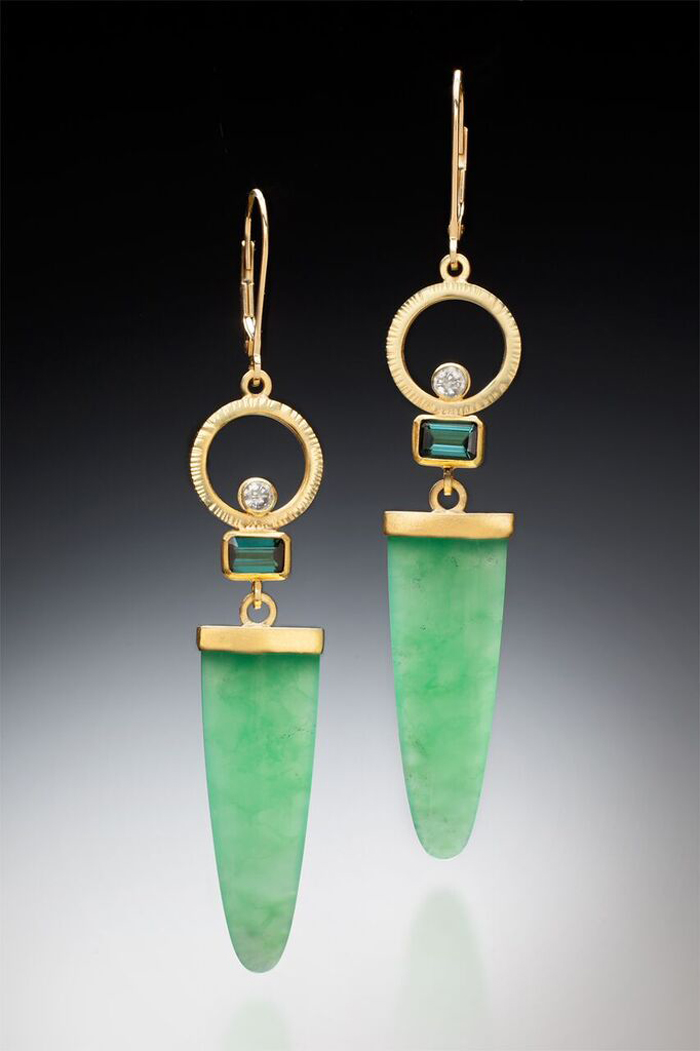 Sam Woehrmann, Chrysoprase Earrings, Gold, chrysoprase