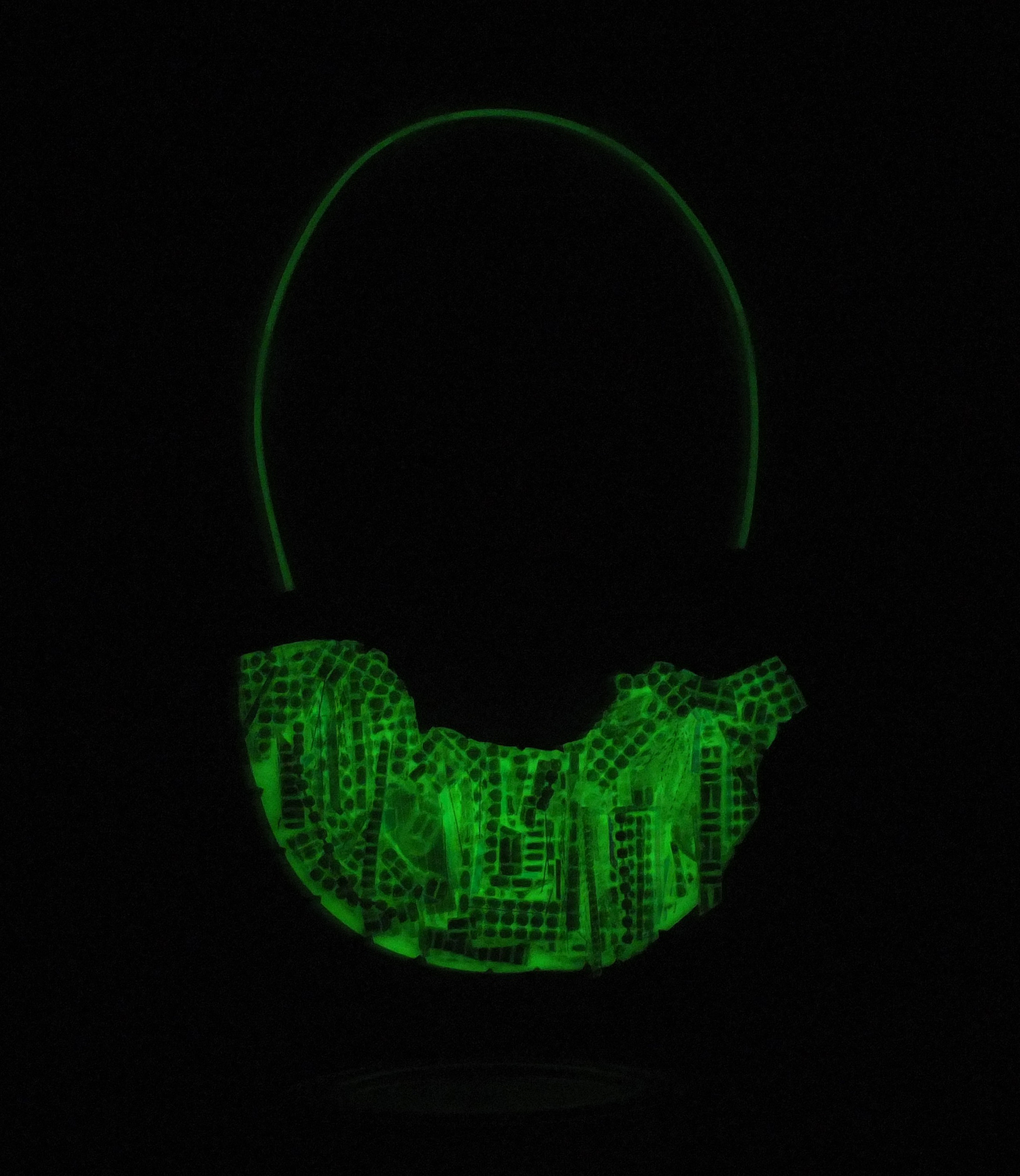 Nikki Couppee, Legend Glow Gems Necklace (as seen in the dark), Plexiglass, brass, sterling silver, fine silver, found object
