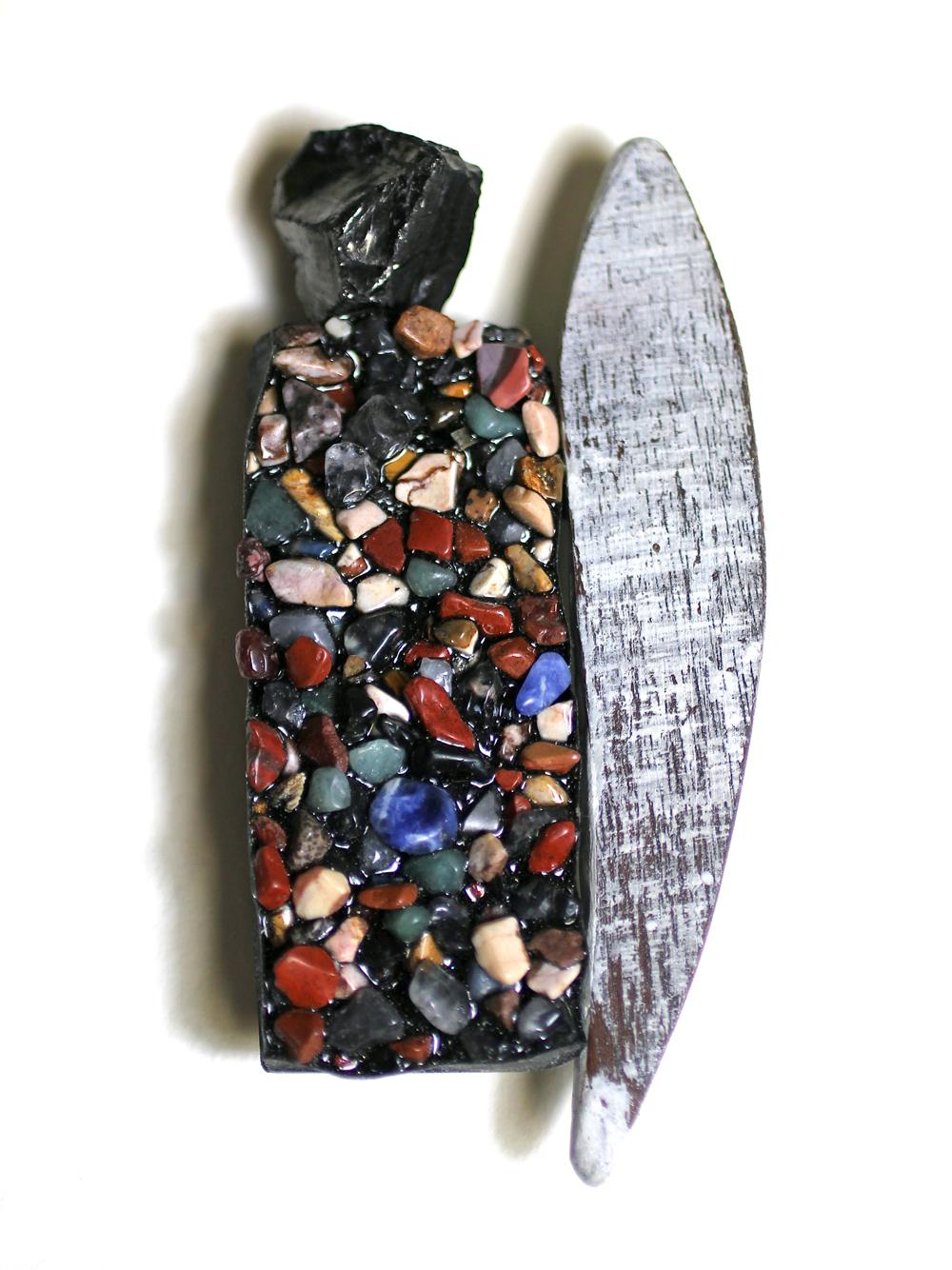 "Thea Clark, Walterhauser Glacier Brooch, Resin, stones, wood, Antarctic coal, silver, 4"" x 2"" x .25"""