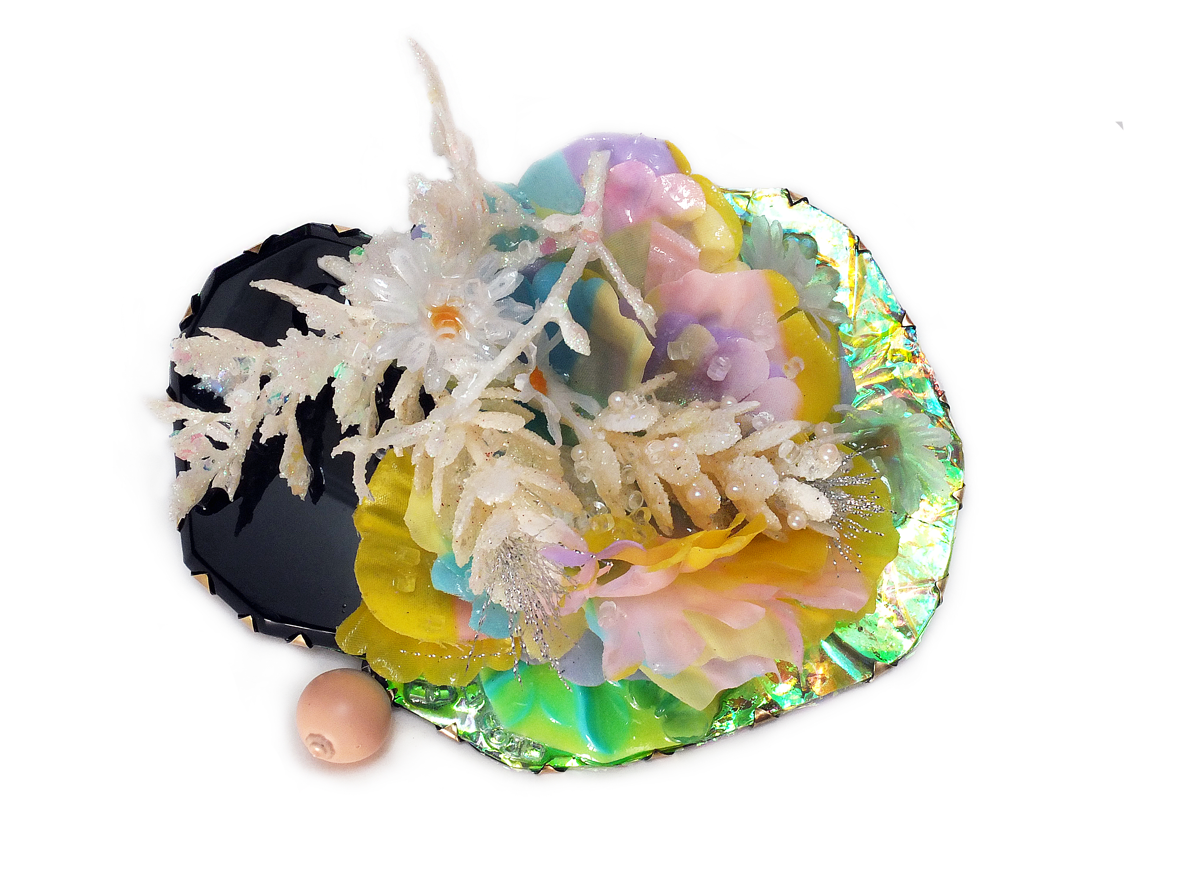Nikki Couppee, Large Corsage Brooch, Plexiglass, brass, found object, steel, (glow in the dark)