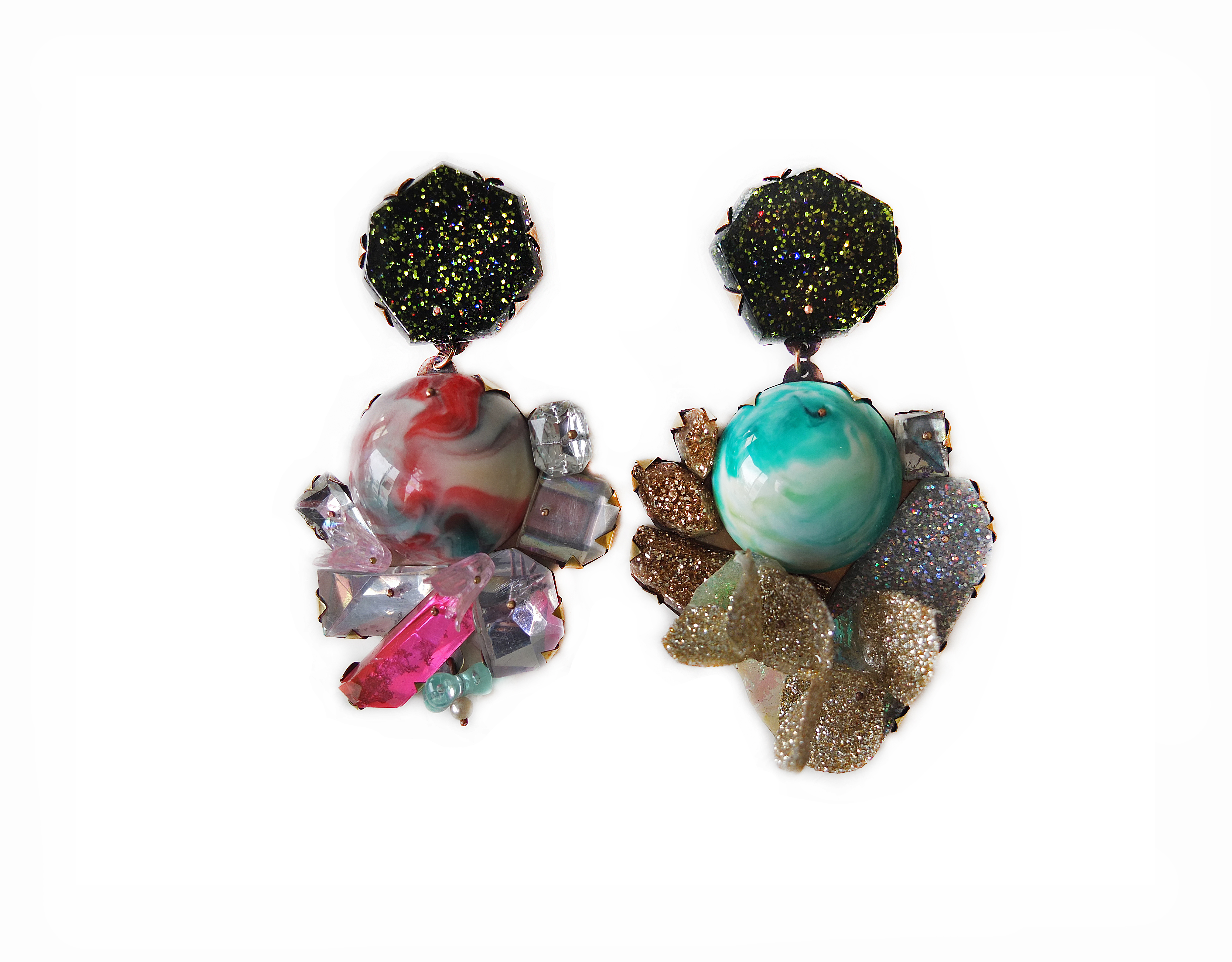Nikki Couppee, 4th of July Drops, Plexiglass, brass, sterling silver, fine silver, found object