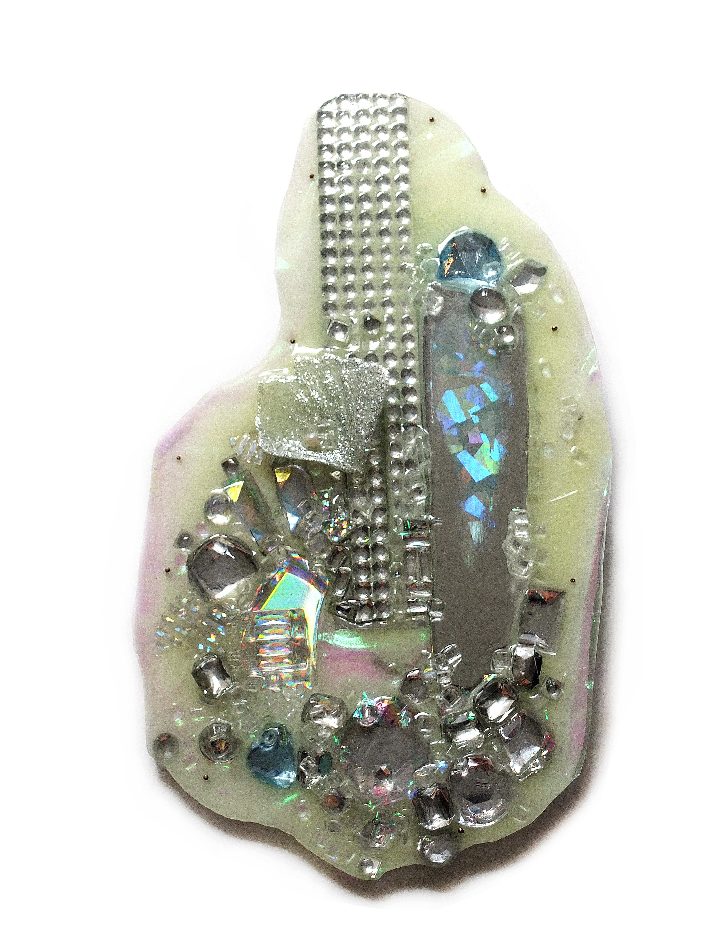 Nikki Couppee, Glow Brooch, Plexiglass, brass, found objects