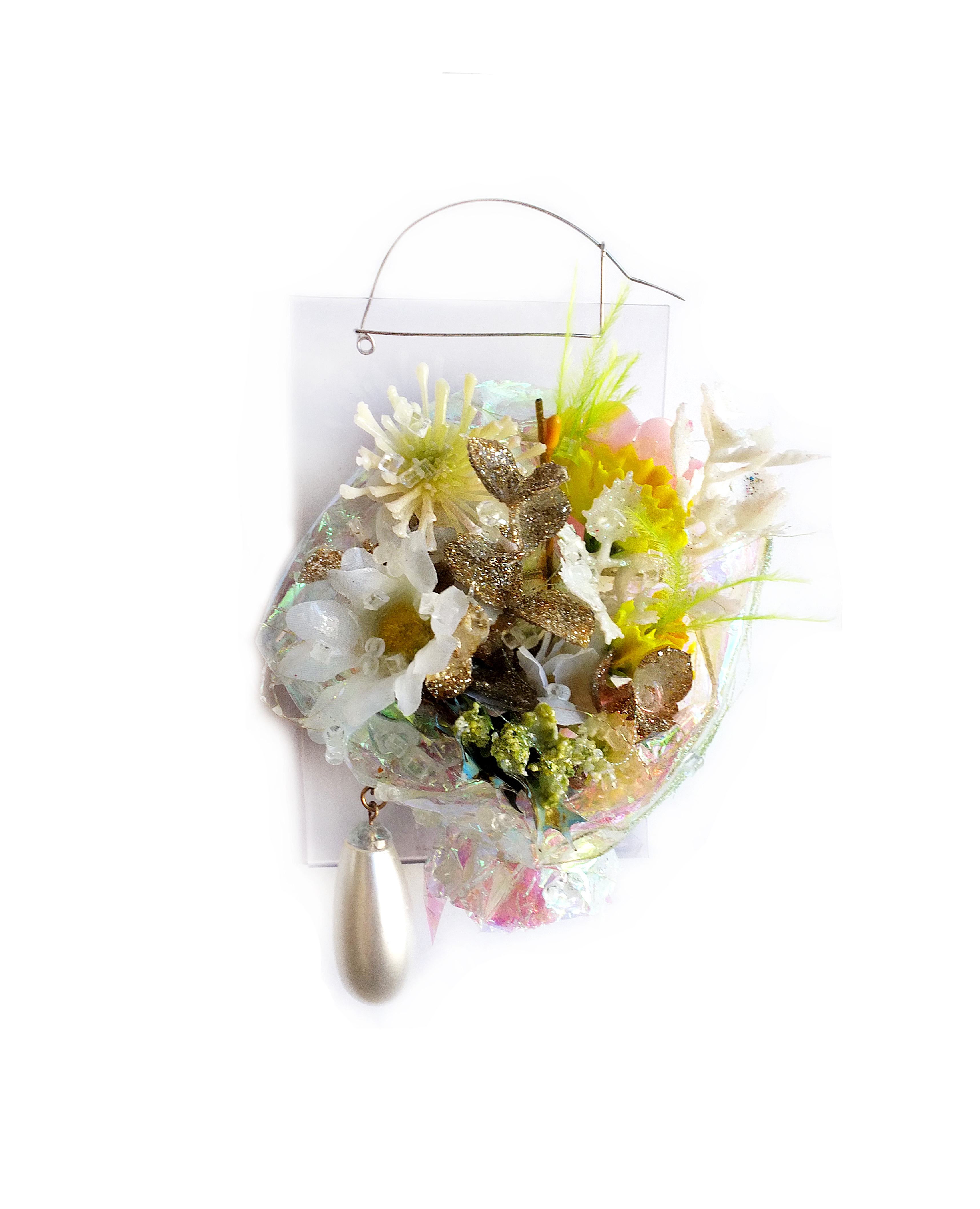 Nikki Couppee, Corsage Brooch III, (glow in the dark) found objects, rubber, steel