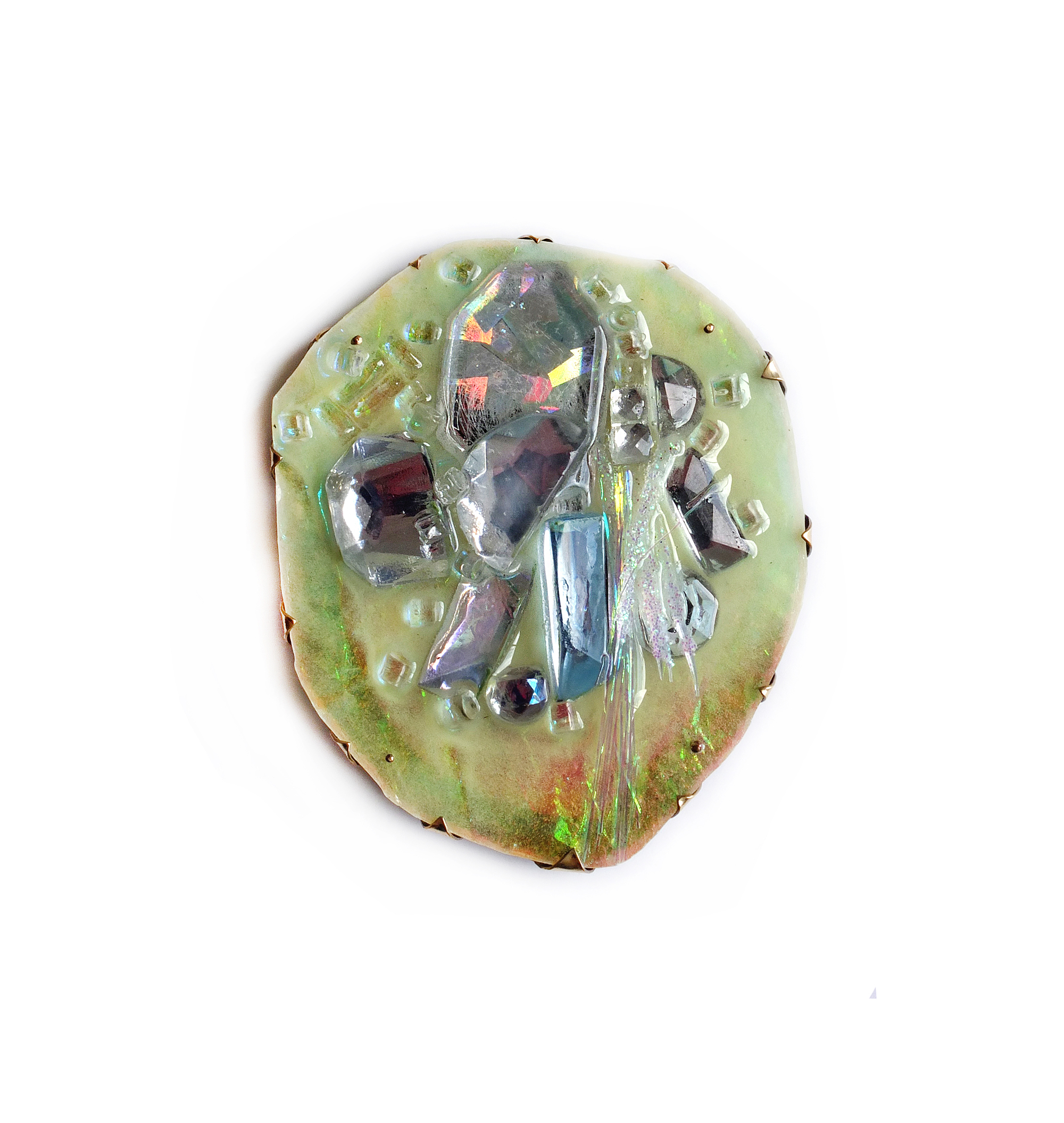 Nikki Couppee, Glow Gems Brooch, Plexiglass, brass, found objects, steel