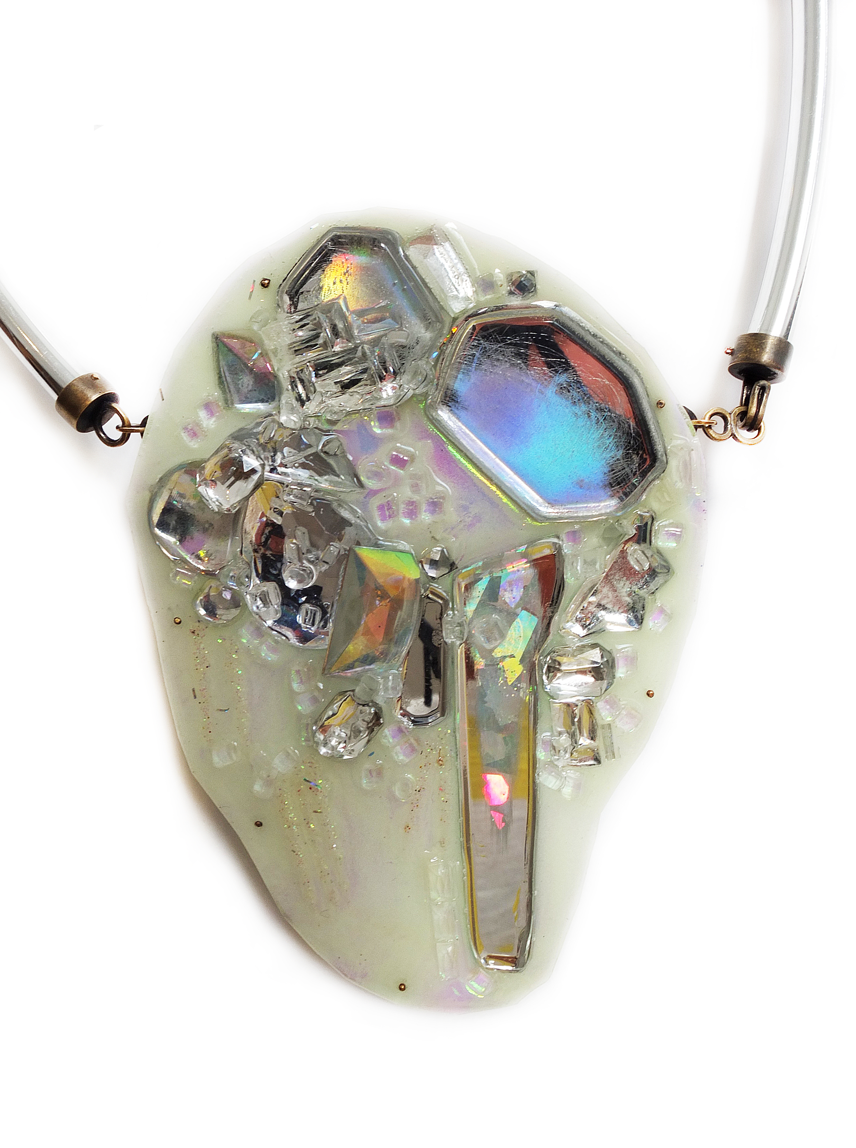 Nikki Couppee, Glow Gems Necklace, Plexiglass, brass, found objects