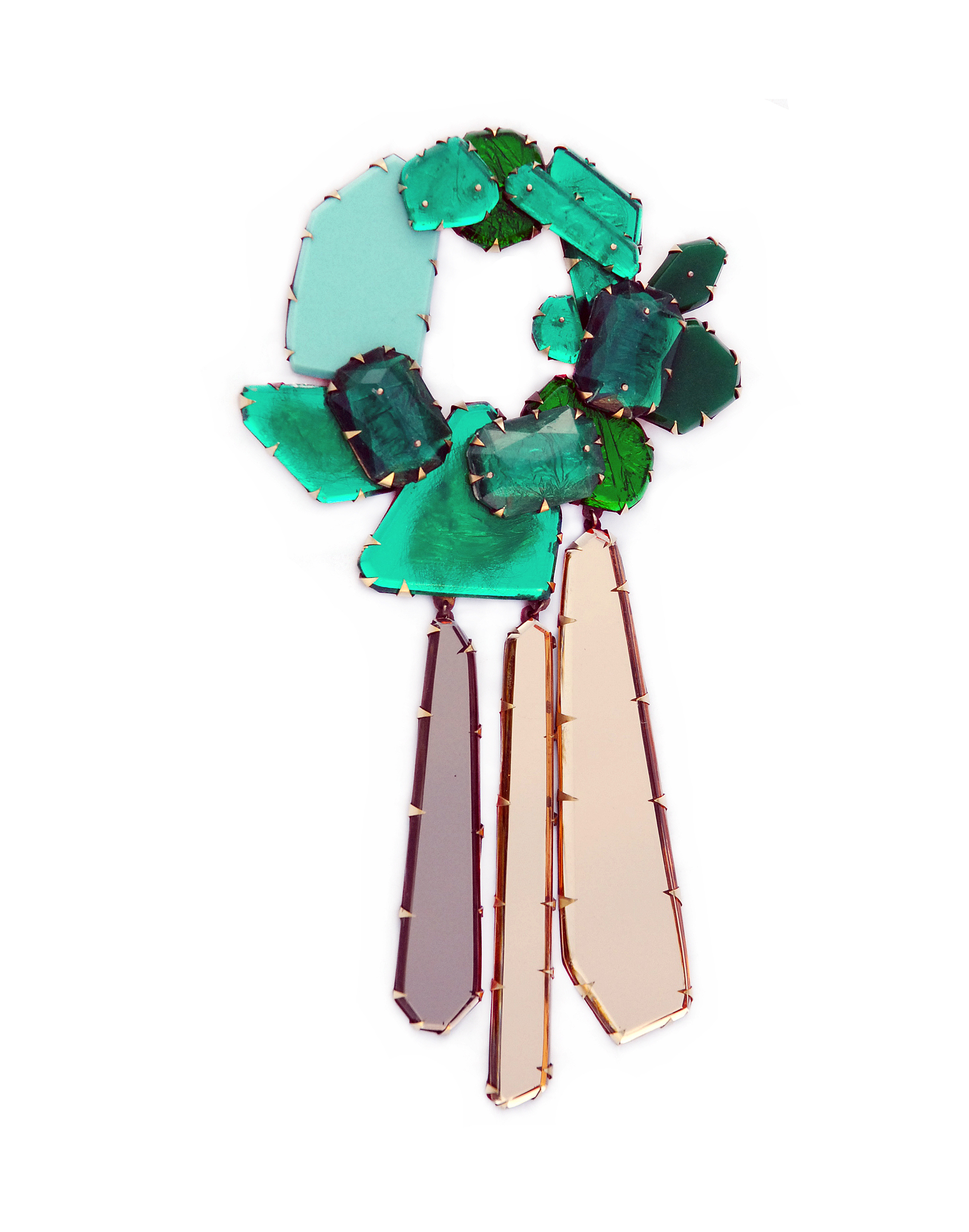 Nikki Couppee, Emerald Wreath Brooch, Plexiglass, brass, sterling silver, fine silver, steel