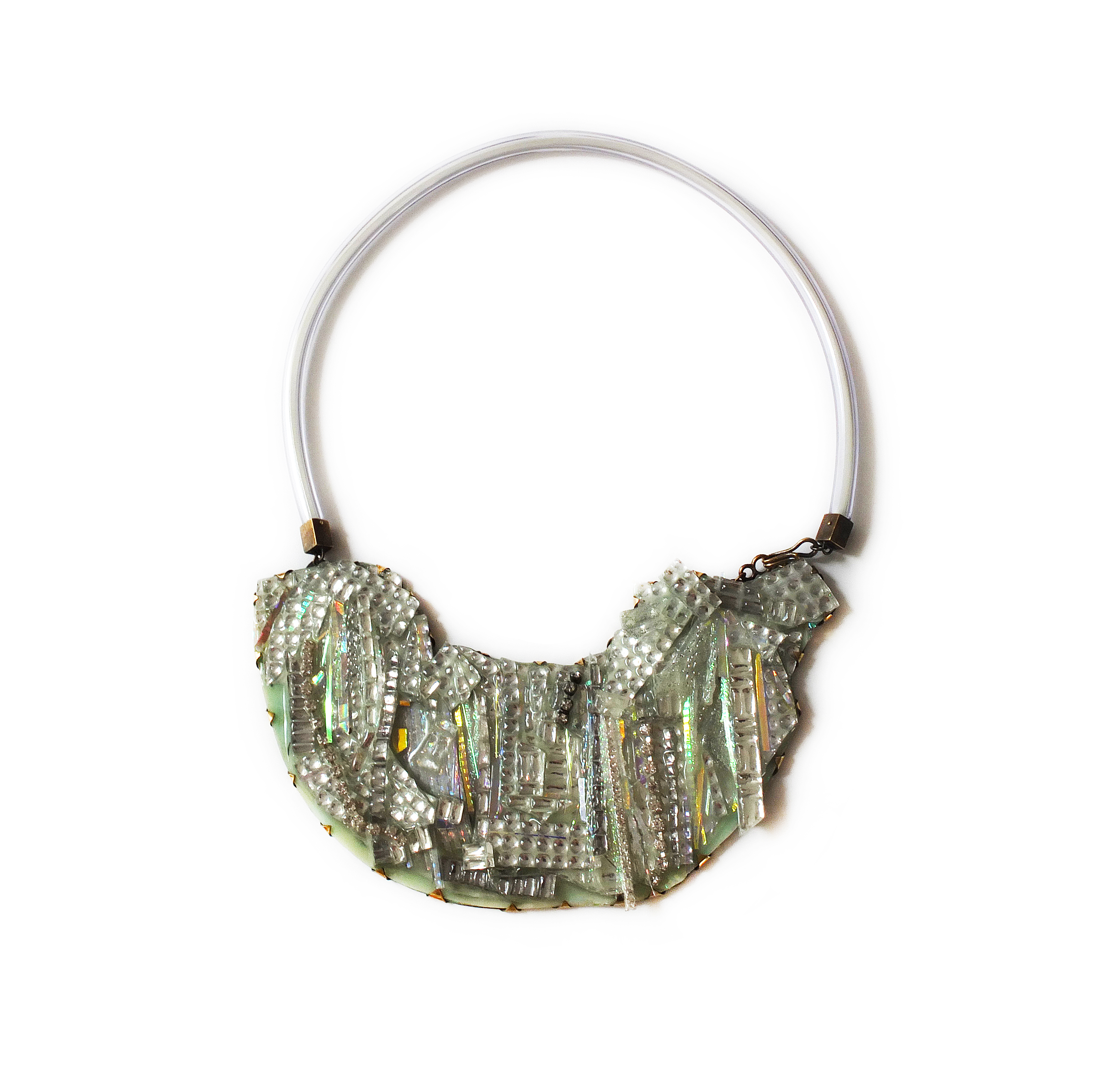 Nikki Couppee, Legends Glow Gems Necklace, Plexiglass, brass, sterling silver, fine silver