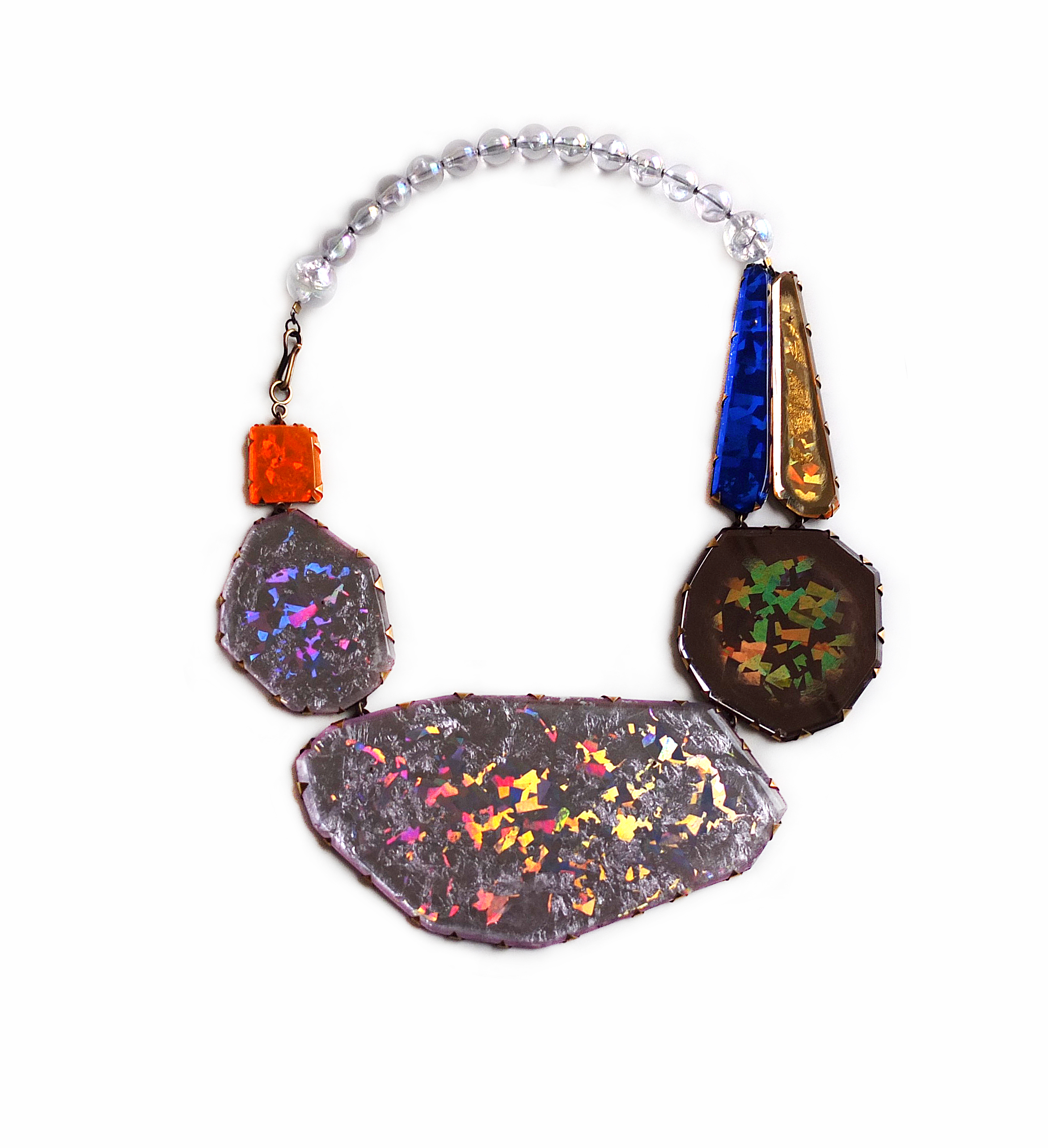 Nikki Couppee, Neogem Necklace, Plexiglass, brass, found objects