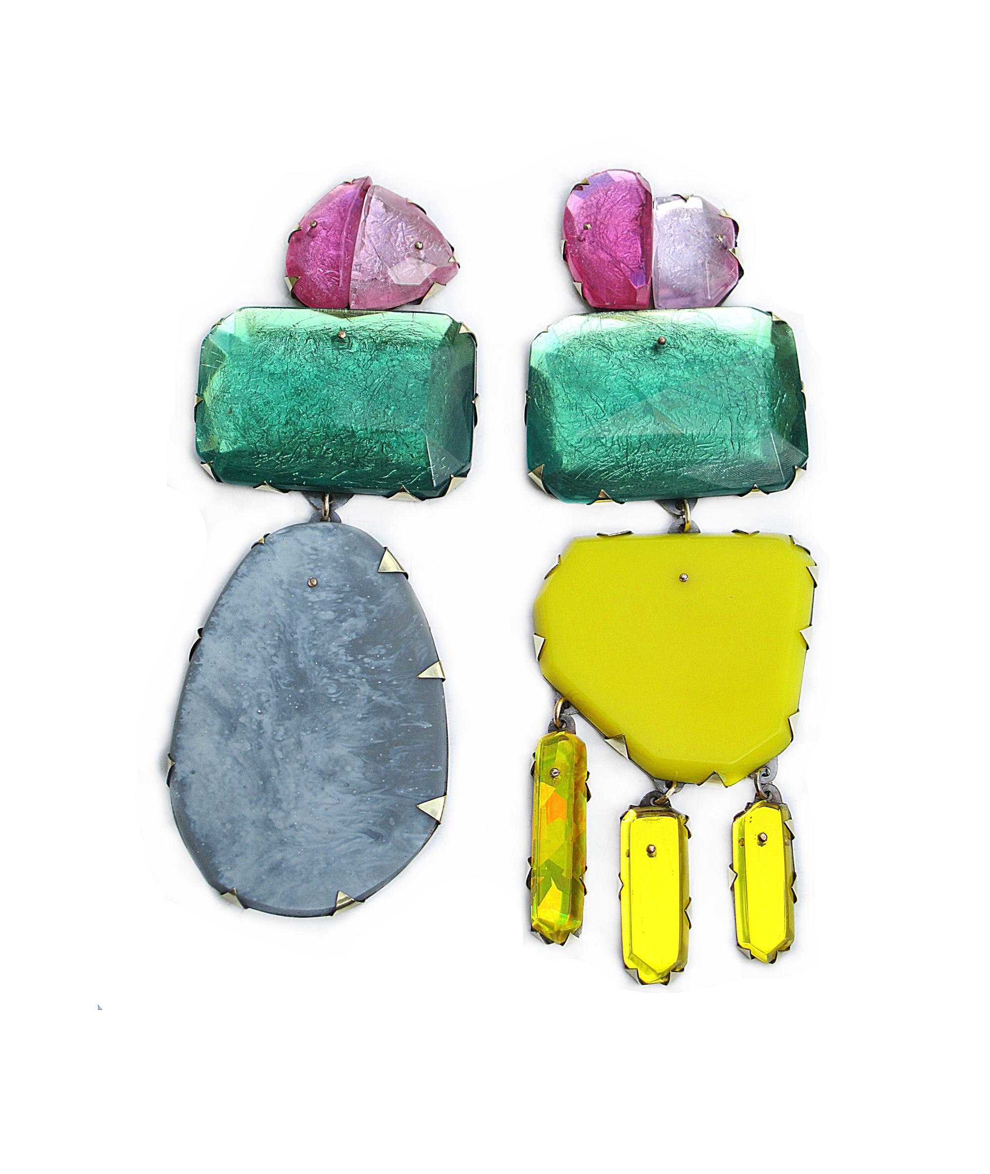 Nikki Couppee, Emerald Cocktail Earrings, Plexiglass, brass, sterling silver, fine silver