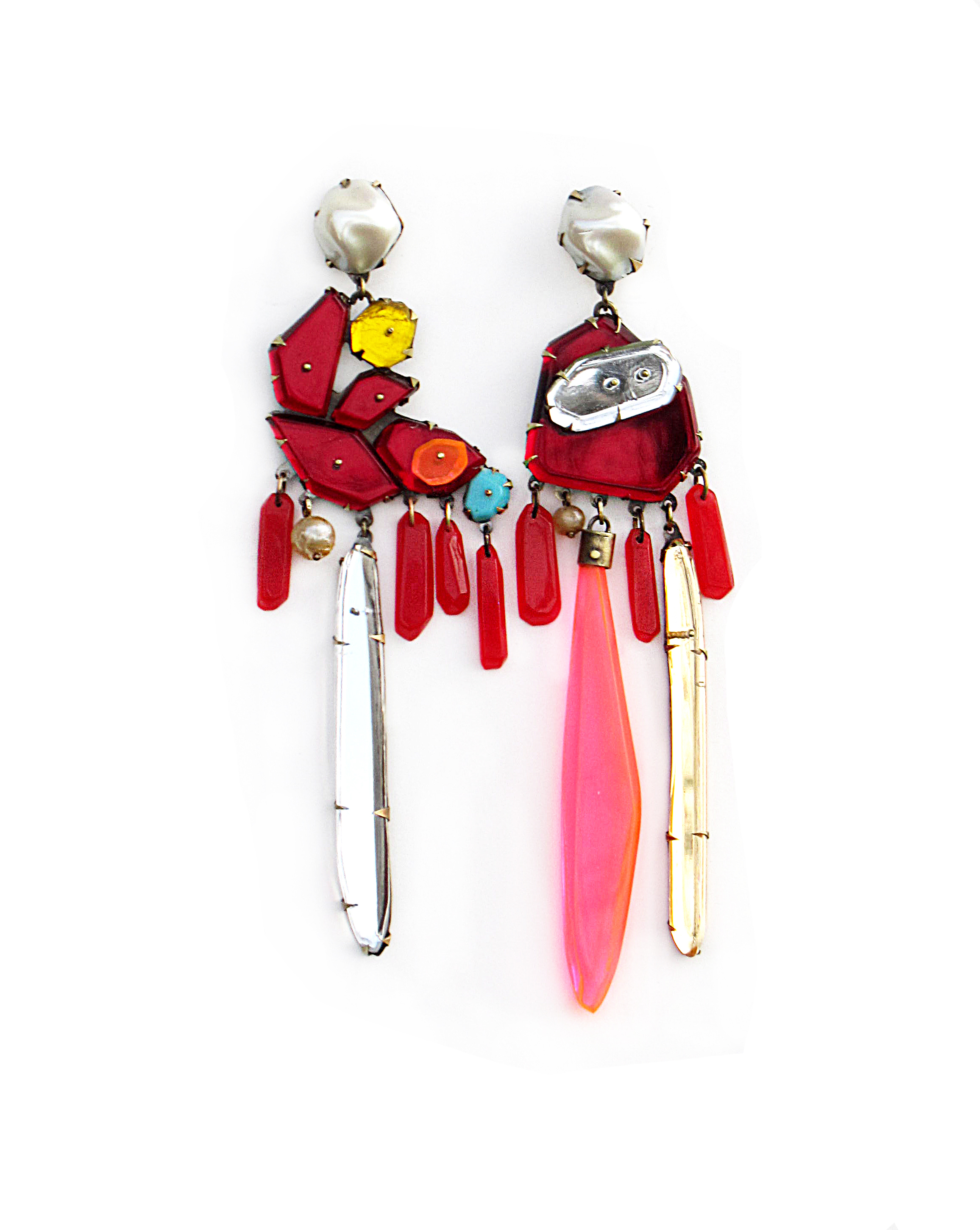 Nikki Couppee, Red Earrings, Plexiglass, brass, sterling silver, fine silver, found object