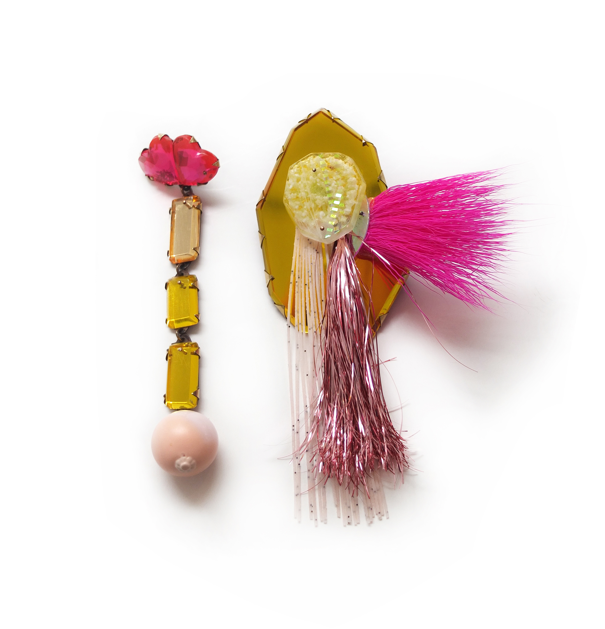 Nikki Couppee, Troll Hair Fringe Earrings, Plexiglass, brass, sterling silver, fine silver, found objects
