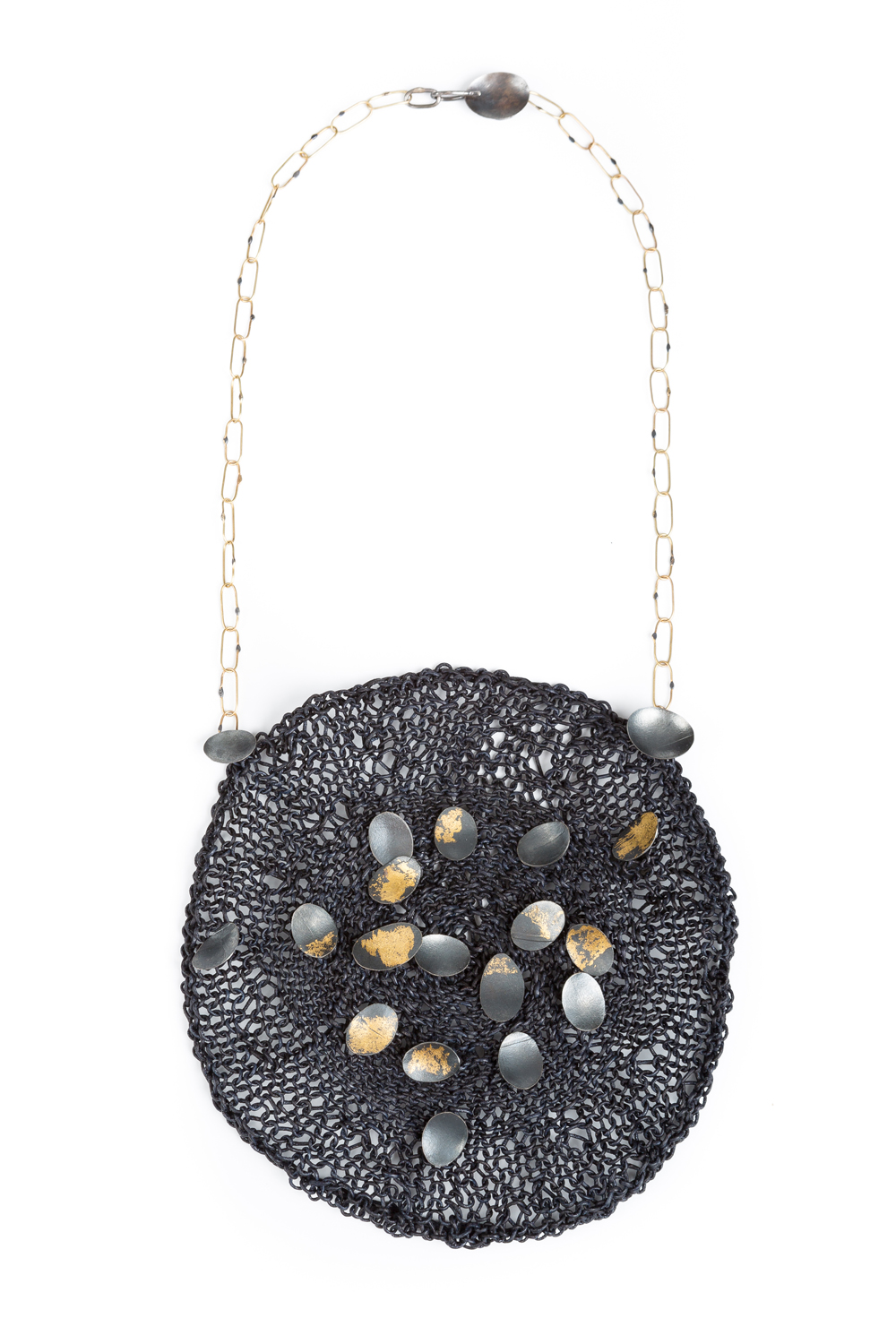 "Brooke Marks-Swanson, Basket#10 Neckpiece, 2016, Leather, silver, 18k gold, 22k gold leaf, 6"" diameter, 24"" long"