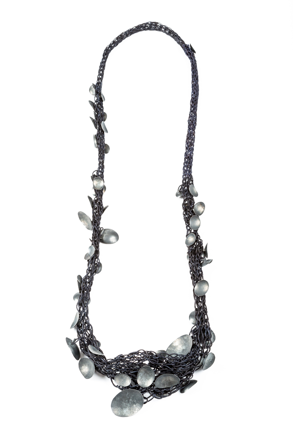 Brooke Marks-Swanson, Basket #9, 2016, Neckpiece, leather, silver, 36""