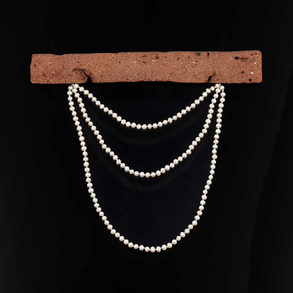 Transmutations 10, 2016, foraged brick, inherited pearls, silk, sterling silver, nickel silver