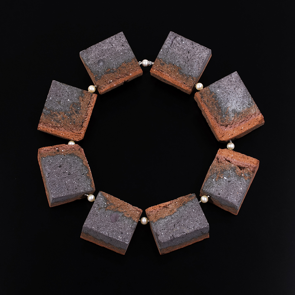Transmutations 15, 2016, foraged brick, inherited pearls, silk, sterling silver