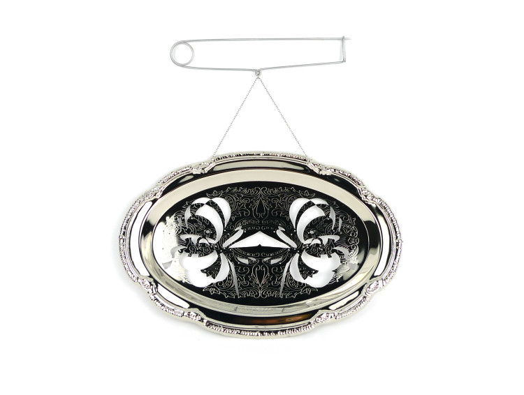 Melissa Cameron, Mirror Brooch (Body/Politic), Serving dish (chrome plated mild steel) titanium, stainless steel, 9.5 x 10 x 1 in.