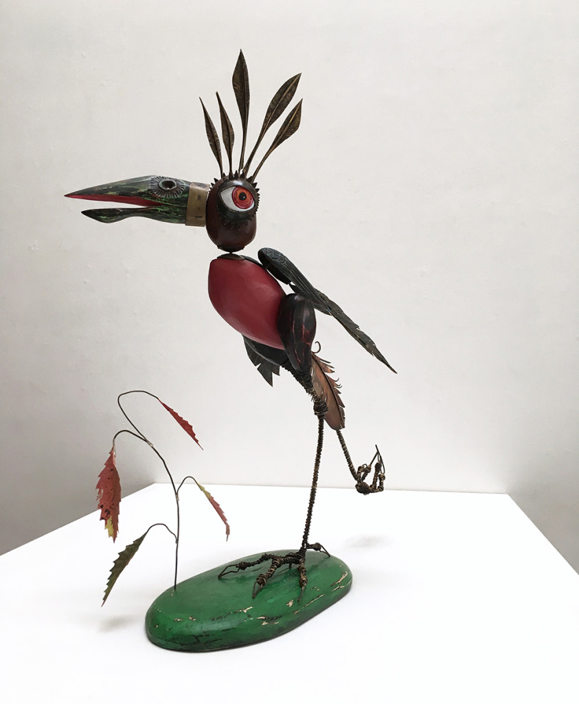 Secretary Bird, 2016, Wood, steel, brass, copper, paint, 27.5 x 23 x 11