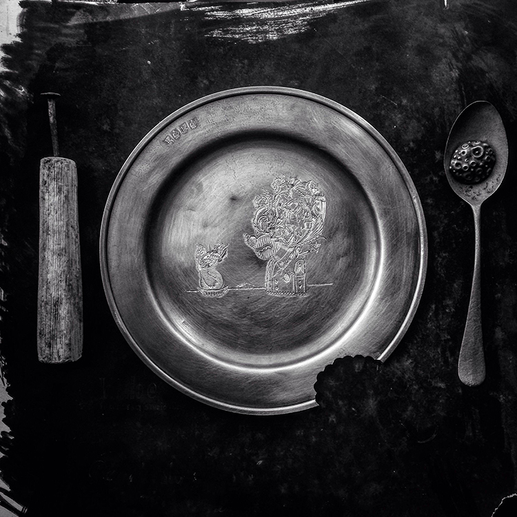 stable meal, hand engraved pewter and modified found metal and wood objects, 2017
