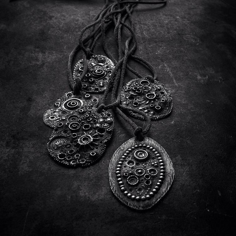 talismamulets (#1-5), pendants, hand engraved oxidized sterling silver, leather, 2017