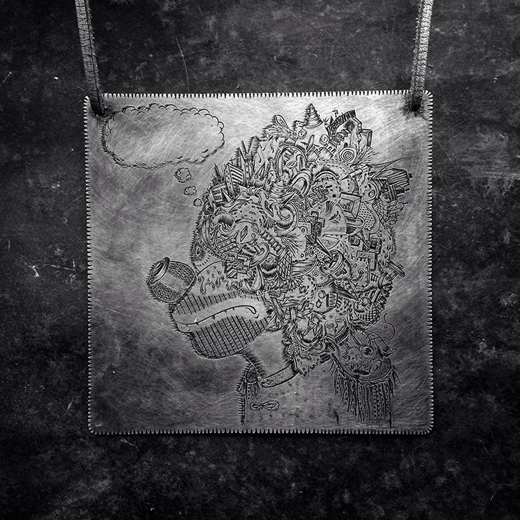 when a contemporary jeweller falls in a forest, who cares!, pendant, hand engraved oxidized sterling silver, leather