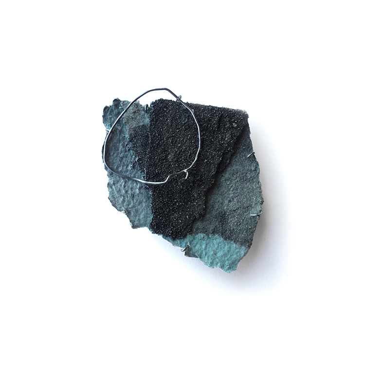 Scene, Brooch, Recycled Paper Pulp Basket, Sand, Asian Ink, Sterling silver, 2017
