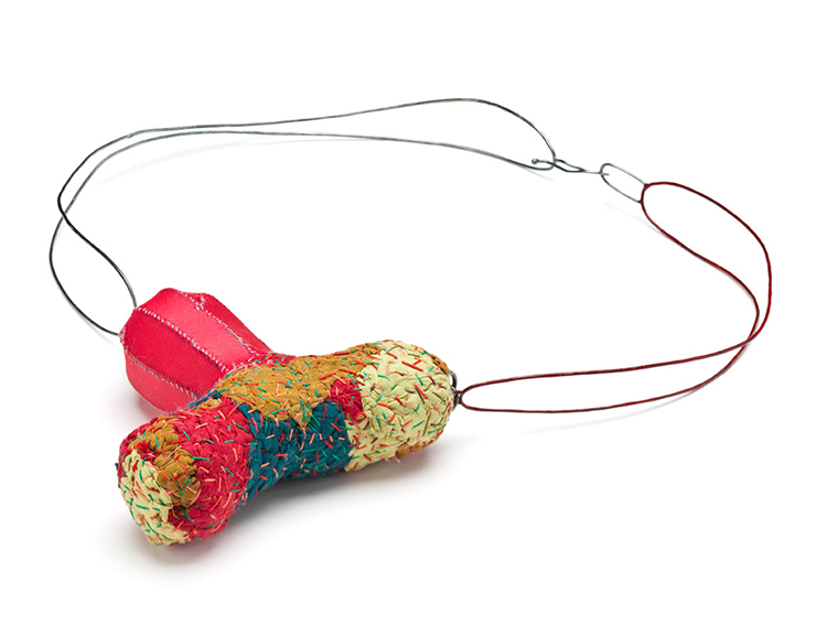 Sign of Life, Necklace, Silk, Thread, Sterling silver, Lacquer, 2012