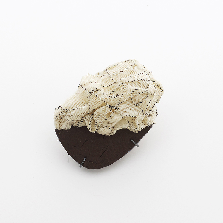In the Cloud, Brooch, Silk Organza, Thread, Found object, Sterling silver, Lacquer, 2013
