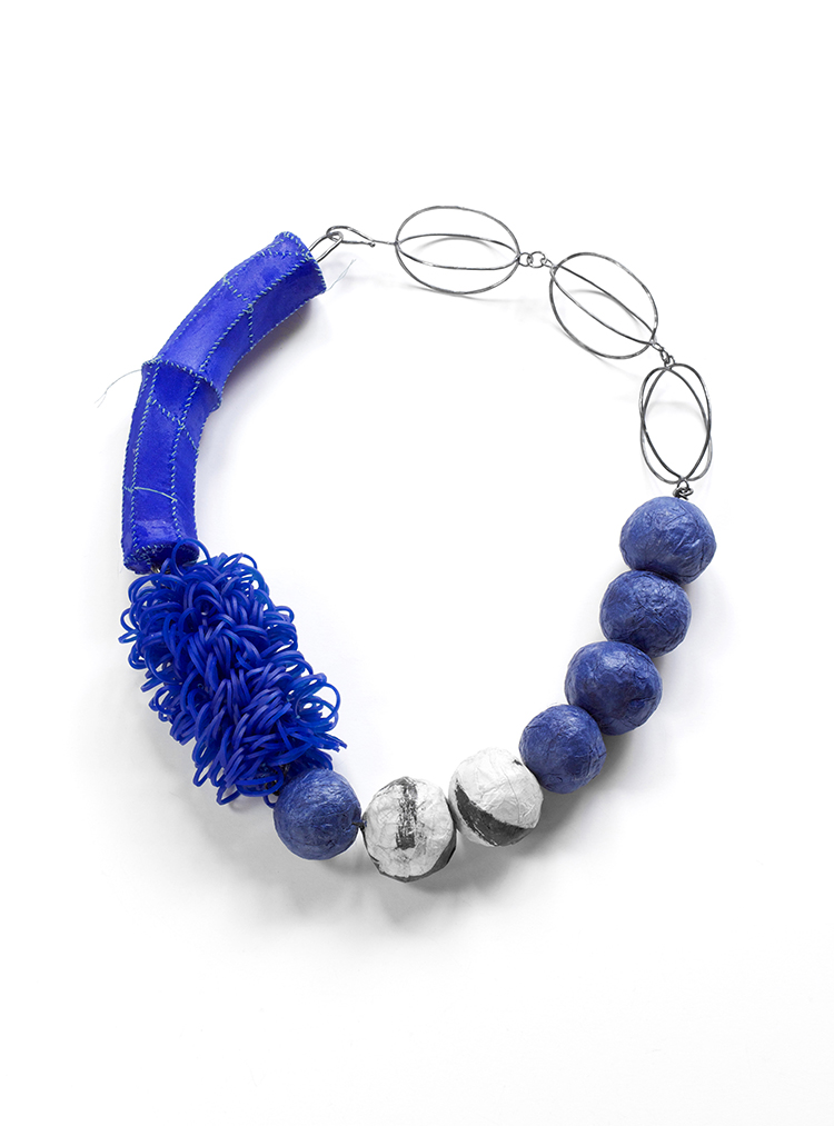 Blue Combination, Necklace, Silk, Silicone bands, Hanji, Asian ink, Thread, Sterling silver, Lacquer, 2014