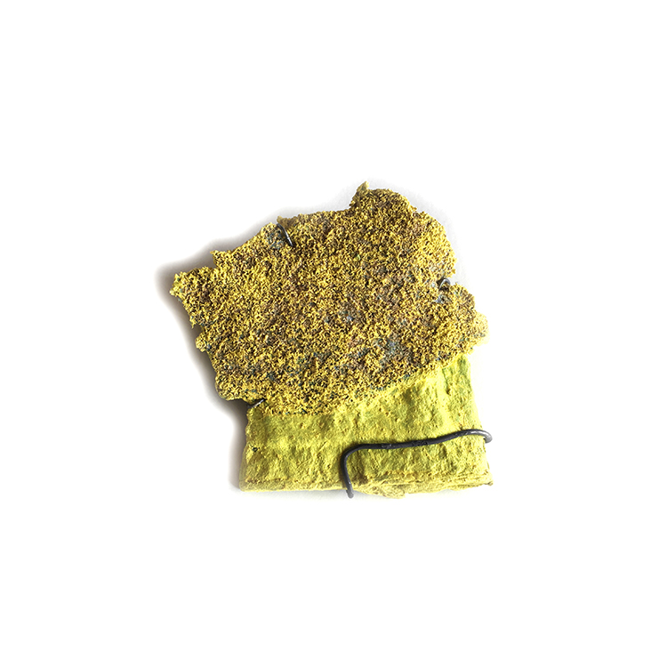 Oak Tree, Brooch, Recycled Paper Pulp Basket, Wood Dust, Acrylic Paint, Sterling silver, 2017