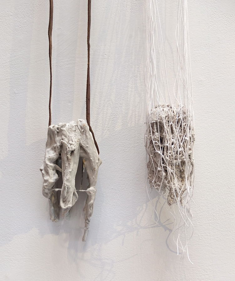 Jorge Manilla, Mexico/Belgium, Muriendo en el intento, Pendants, 2013, 2017, Polymer gypsum, steel, fabrics, leather