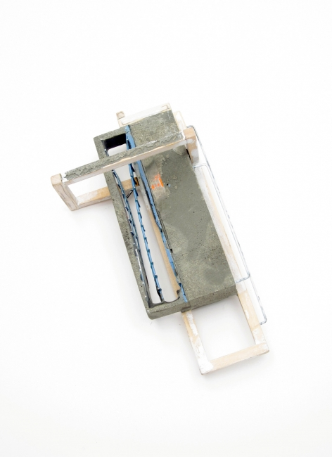 Demitra Thomloudis, United States, Reconstructed: Framed, Brooch, 2012, Cement, sterling silver, resin, steel, pigment, thread, duct tape, 8.9 x 6.4 x 4.4 cm, Photo: Seth Papac