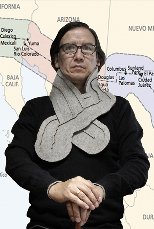 Andrés Fonseca, Mexico, Somos Frontera, Neckpiece, 2013, grey felt, thread