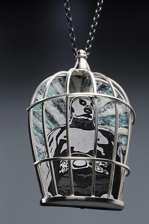 Jacqueline Roffe, Mexico, El luchador 1 (pendant), 2013, Sterling silver, steel, precious metal clay, enamel, microesferas